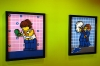 These LEGO mosaic pictures are in a hallway...they should do more stuff like this because there's a lot of wallspace and these are cool.